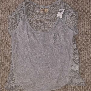 Hollister Top - Grey w/ lace back (small)